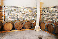 Oak barriques for aging. Cobo winery, Poshnje, Berat. Albania, Balkan, Europe.