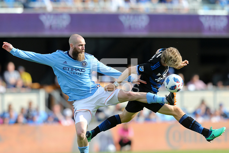 San Jose, CA - Saturday March 31, 2018: Jo Inge Berget, Florian Jungwirth prior to a Major League Soccer (MLS) match between the San Jose Earthquakes and New York City FC at Avaya Stadium.
