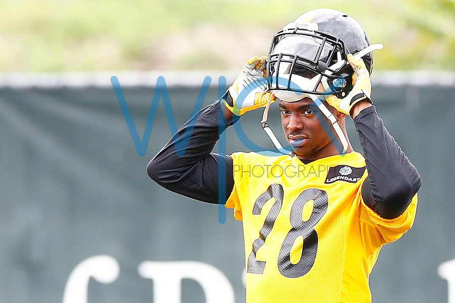 Sean Davis #28 of the Pittsburgh Steelers looks on during OTA's at the Rooney Sports Complex on the Side Side in Pittsburgh, Pennsylvania on June 2, 2016. (Photo by Jared Wickerham/DKPittsburghSports)