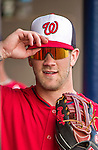 10 March 2014: Washington Nationals outfielder Bryce Harper stands in the dugout prior to a Spring Training game against the Houston Astros at Space Coast Stadium in Viera, Florida. The Astros defeated the Nationals 7-4 in Grapefruit League play. Mandatory Credit: Ed Wolfstein Photo *** RAW (NEF) Image File Available ***