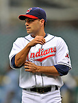 12 September 2008: Cleveland Indians' infielder Jamey Carroll warms up prior to facing the Kansas City Royals at Progressive Field in Cleveland, Ohio. The Indians defeated the Royals 12-5 in the first game of their 4-game series...Mandatory Photo Credit: Ed Wolfstein Photo