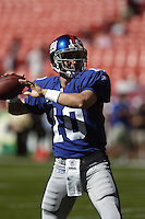 23 September 2007:  Giants QB Eli Manning (10)..The New York Giants defeated the Washington Redskins 24-17 at FedEx Field in Landover, MD.