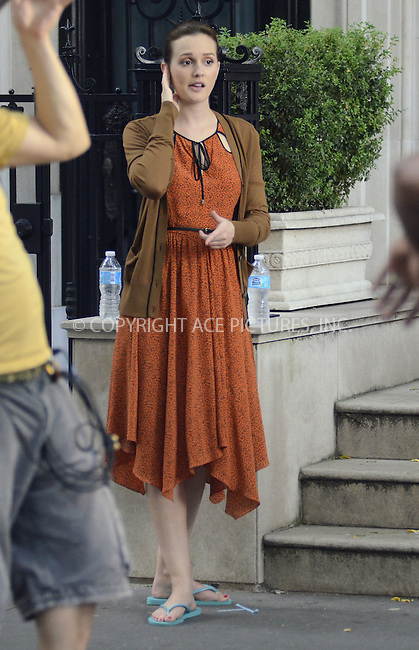 WWW.ACEPIXS.COM......August 17, 2012, New York City, NY.....Actress Leighton Meester on the set of 'Gossip Girl' on August 17, 2012 in New York City.........By Line: Curtis Means/ACE Pictures....ACE Pictures, Inc..Tel: 646 769 0430..Email: info@acepixs.com