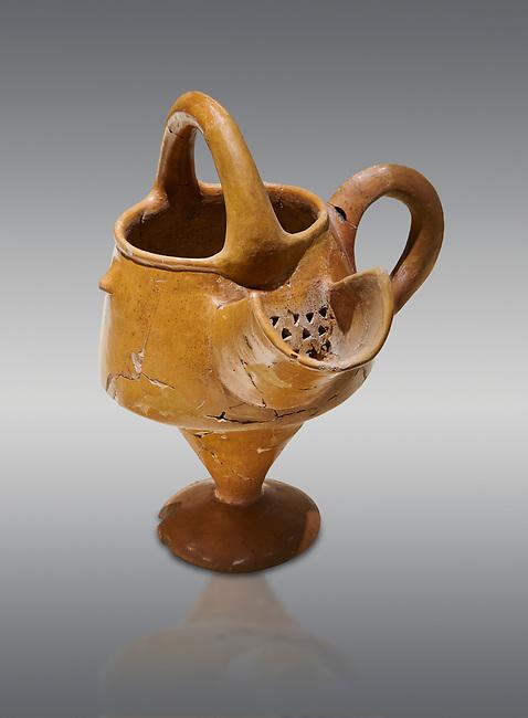 Hittite terra cotta vessel with strainer - 19th 17th century BC - Hattusa ( Bogazkoy ) - Museum of Anatolian Civilisations, Ankara, Turkey . Against gray background