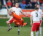 17.04.18 Brechin City v Dundee utd:<br /> Thomas Mikklesen sent flying by Kalvin Orsi