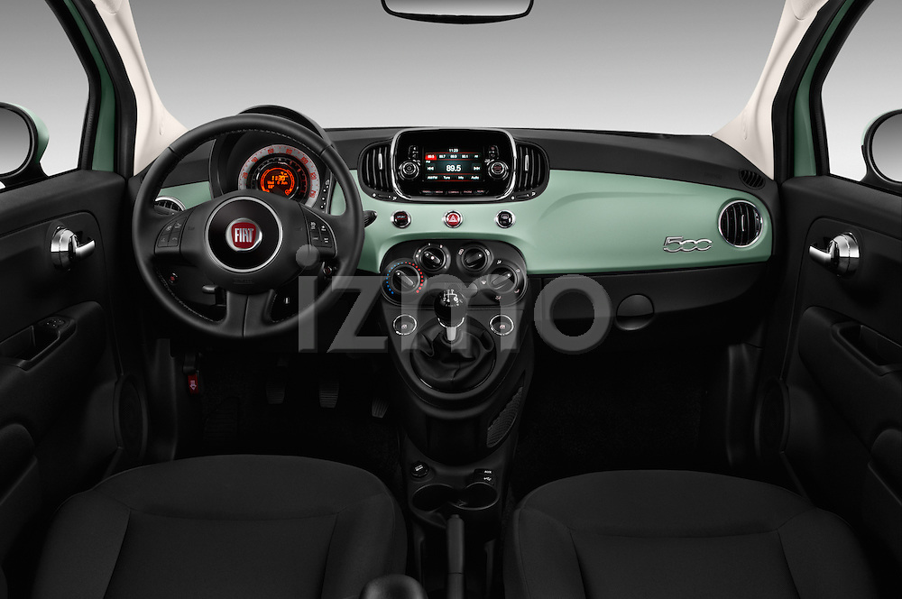 Stock photo of straight dashboard view of 2016 Fiat 500 Pop 3 Door Hatchback Dashboard