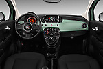 Stock photo of straight dashboard view of 2017 Fiat 500 Pop 3 Door Hatchback Dashboard