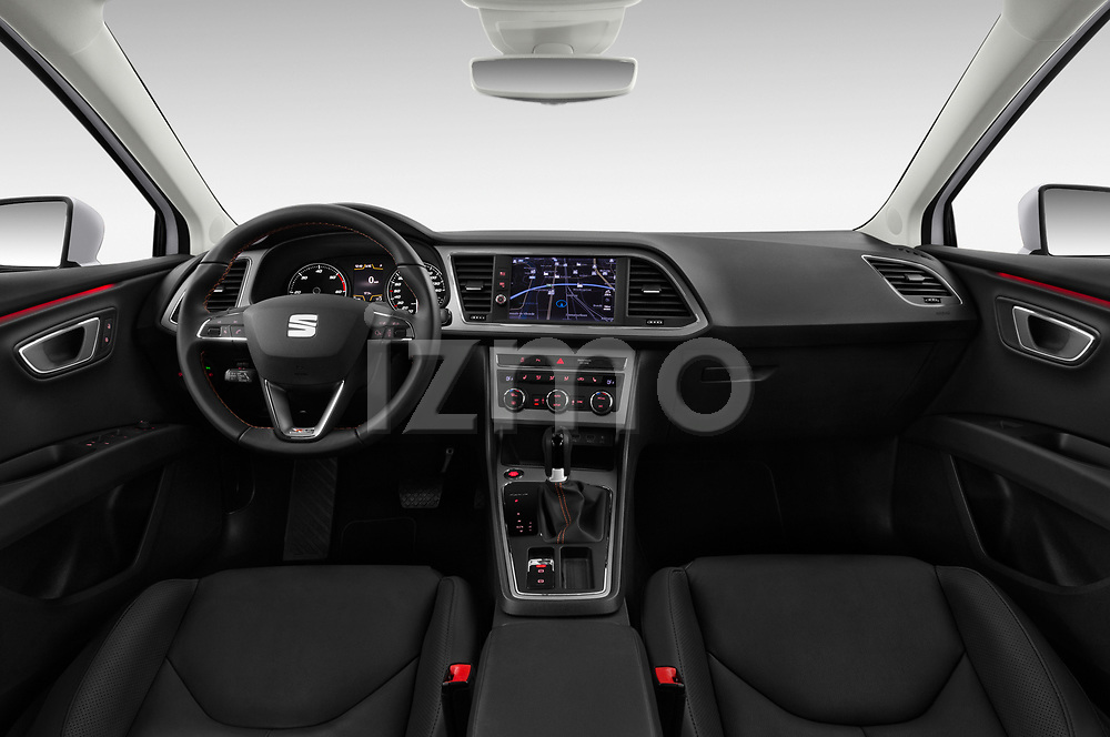 Stock photo of straight dashboard view of a 2017 Seat Leon ST Xperience Base 5 Door Wagon