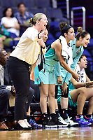 Washington, DC - June 15, 2018: New York Liberty head coach Katie Smith on the sidelines during game between the Washington Mystics and New York Liberty at the Capital One Arena in Washington, DC. (Photo by Phil Peters/Media Images International)