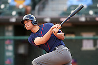 Lehigh Valley IronPigs right fielder Cam Perkins (27) hits a home run during a game against the Buffalo Bisons on July 9, 2016 at Coca-Cola Field in Buffalo, New York.  Lehigh Valley defeated Buffalo 9-1 in a rain shortened game.  (Mike Janes/Four Seam Images)