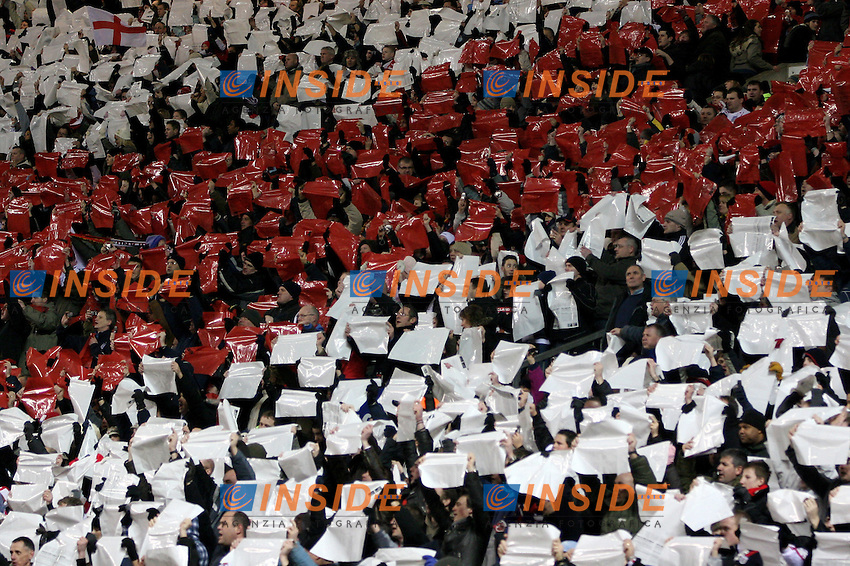 England's supporters display banners before a friendly match at Old Trafford in Manchester, Wednesday February 07, 2007. (INSIDE/ALTERPHOTOS/Alvaro Hernandez).