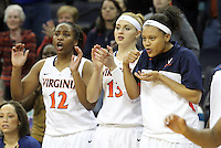 Virginia players celebrate a play from the bench during the game Thursday in Charlottesville, VA. Virginia defeated Maryland 86-72. Photo/The Daily Progress/Andrew Shurtleff