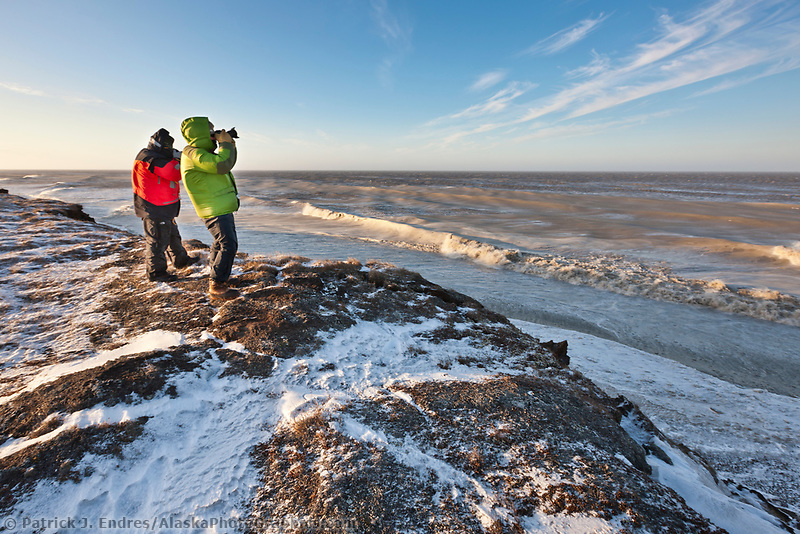 Photographers take pictures of the coast of Barter Island, Arctic National Wildlife Refuge, Beaufort Sea, arctic, Alaska.