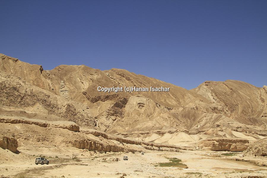 Israel, Negev, Hatzera Ridge as seen from Wadi Zin