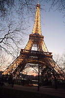 Eiffel Tower illuminated, March 31, 1889 (Universal Exhibition in celebration of the French Revolution), Alexandre Gustave Eiffel (1832-1923), 324 meters high, 10,100 tons, 18,038 pieces, 2,500,000 rivets, 1665 steps, Paris, France Picture by Manuel Cohen