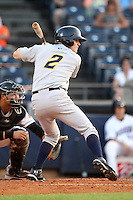 Akron Aeros second baseman Corban Joseph #2 during a game against the Trenton Thunder at Canal Park on July 26, 2011 in Akron, Ohio.  Trenton defeated Akron 4-3.  (Mike Janes/Four Seam Images)