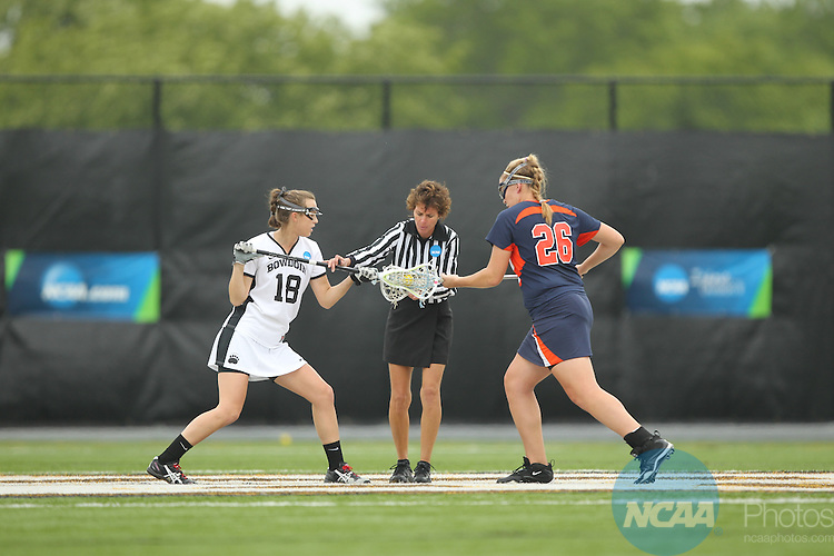 22 MAY 2011:  Gettsburg College takes on Bowdoin College during the Division III Women's Lacrosse Championship held at Motamed Field on the Adelphi University campus in Garden City, NY. Gettysburg College defeated Bowdoin College 16-5 to win their national title.  John Munson/ NCAA Photos