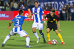 Atletico de Madrid's Filipe Luis and Club Deportivo Leganes's Unai Bustinza and Gabriel Appelt Pires during the match of La Liga between Club Deportivo Leganes and Atletico de Madrid at Butarque Estadium in Leganes. August 27, 2016. (ALTERPHOTOS/Rodrigo Jimenez)
