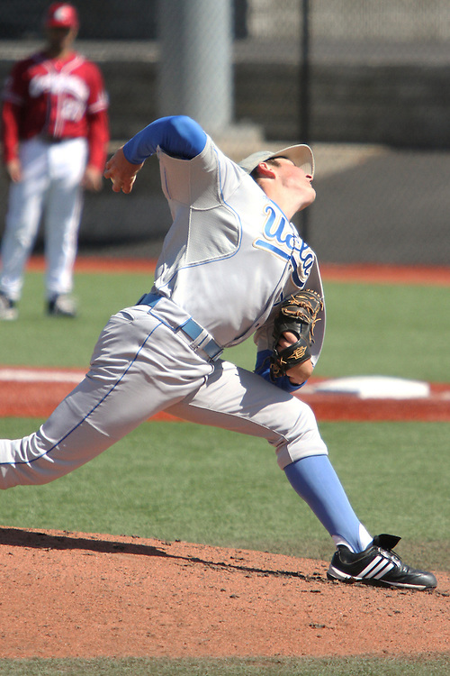 Trevor Bauer, one of the top pitching prospects in the country, contorts his body while firing to the plate during the Bruins Pac-10 conference baseball game against Washington State at Bailey-Brayton Field in Pullman, Washington, on April 9, 2011.  Bauer pitched a complete game in the 10-3 UCLA victory, giving up six hits, striking out 15, while running his season record to 6-1.