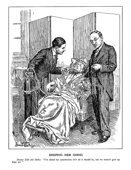 """Keeping Her Going. Doctors Eden and Delbos. """"I'm afraid her constitution isn't all it should be, but we musn't give up hope yet."""" (British Foreign Secretary Anthony Eden gives The League of Nations patient some oxygen gas while his French counterpart Foreign Minister Yvon Delbos checks her pulse)"""