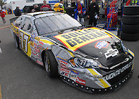 Feb 15, 2007; Daytona, FL, USA; The car of Nascar Busch Series driver Bobby Labonte (77) after crashing during practice for the Orbitz 300 at Daytona International Speedway. Mandatory Credit: Mark J. Rebilas