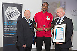 17/07/2015 The IRTE Skills Challenge 2015 prize-giving takes place at The National Motorcycle Museum, Birmingham. Gerry Fleming (left) presents the Runner Up Electrical Apprentice award to Ross Lewin of Tower Transit, with John Winter of S&B (right).