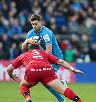 12th January 2020; RDS Arena, Dublin, Leinster, Ireland; Heineken Champions Champions Cup Rugby, Leinster versus Lyon Olympique Universitaire; Ross Byrne (Leinster) prepares to be tackled by Francisco Gomez Kodela (Lyon)  - Editorial Use