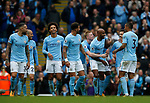 Manchester City players celebrate the with goal scored by Fabian Delph of Manchester City during the premier league match at the Etihad Stadium, Manchester. Picture date 22nd September 2017. Picture credit should read: Simon Bellis/Sportimage