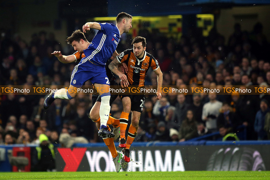 Chelsea's Gary Cahill and Ryan Mason of Hull City just seconds before their clash of heads during Chelsea vs Hull City, Premier League Football at Stamford Bridge on 22nd January 2017