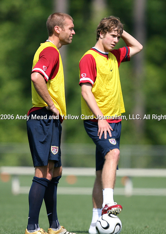 Jimmy Conrad (l) and Michael Bradley (r), a non-roster practice player, on Sunday, May 14th, 2006 at SAS Soccer Park in Cary, North Carolina. The United States Men's National Soccer Team held a training session as part of their preparations for the upcoming 2006 FIFA World Cup Finals being held in Germany.