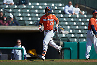 Branden Comia (23) of the Illinois Fighting Illini jogs towards home later after hitting a two-run home run against the West Virginia Mountaineers at TicketReturn.com Field at Pelicans Ballpark on February 23, 2020 in Myrtle Beach, South Carolina. The Fighting Illini defeated the Mountaineers 2-1.  (Brian Westerholt/Four Seam Images)