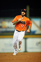 Richmond Flying Squirrels first baseman K.C. Hobson (17) runs the bases during a game against the Trenton Thunder on May 11, 2018 at The Diamond in Richmond, Virginia.  Richmond defeated Trenton 6-1.  (Mike Janes/Four Seam Images)