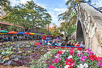 I like the way this cityscape image came out as I shot along the river walk pedestrian bridge in San Antonio with the landscape flowers as one of the river boats came by with a load of tourist and you could see the colorful umbrellas from Cafe Rio restaurant on the other side.