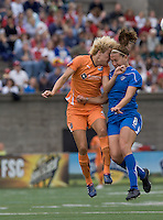 Sky Blue FC defender Daphne Koster (4) and Boston Breakers forward Lauren Cheney (8) battle for head ball. Sky Blue FC defeated the Boston Breakers, 2-1, at Harvard Stadium on June 13, 2010.