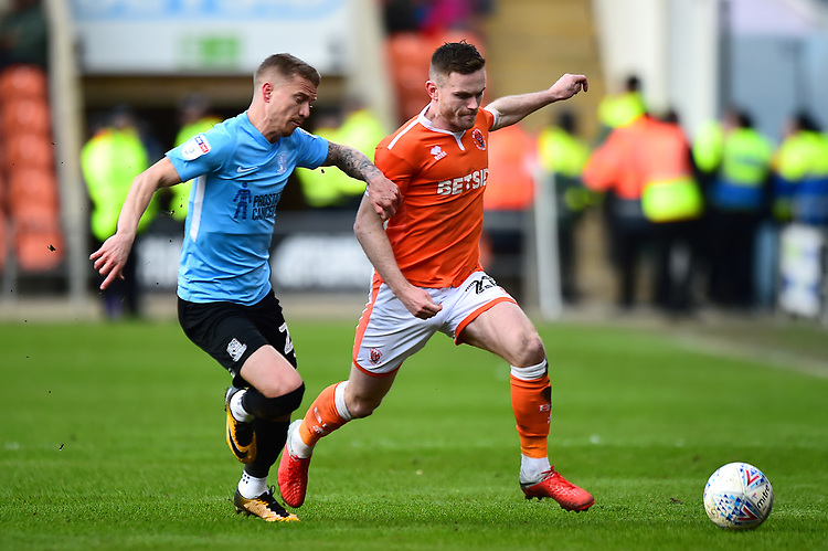Blackpool's Oliver Turton vies for possession with Southend United's Jason Demetriou<br /> <br /> Photographer Richard Martin-Roberts/CameraSport<br /> <br /> The EFL Sky Bet League One - Blackpool v Southend United - Saturday 9th March 2019 - Bloomfield Road - Blackpool<br /> <br /> World Copyright © 2019 CameraSport. All rights reserved. 43 Linden Ave. Countesthorpe. Leicester. England. LE8 5PG - Tel: +44 (0) 116 277 4147 - admin@camerasport.com - www.camerasport.com