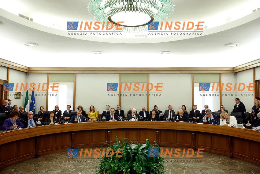 Panoramica del tavolo<br /> Roma 11-02-2015 Plenum del CSM, Consiglio Superiore della Magistratura e prima seduta del neo eletto Presidente della Repubblica<br /> Photo Samantha Zucchi Insidefoto