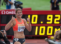 Dafne SCHIPPERS of Holland wins the 100m in a time of 10.92 during the Sainsbury's Anniversary Games, Athletics event at the Olympic Park, London, England on 25 July 2015. Photo by Andy Rowland.