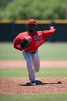 Los Angeles Angels relief pitcher Hector Yan (68) delivers a pitch during an Extended Spring Training game against the Giants Black at the San Francisco Giants Training Complex on May 25, 2018 in Scottsdale, Arizona. (Zachary Lucy/Four Seam Images)