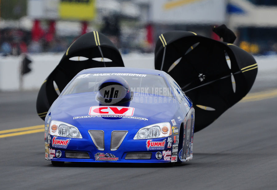 Sept. 17, 2011; Concord, NC, USA: NHRA pro stock driver Kurt Johnson during qualifying for the O'Reilly Auto Parts Nationals at zMax Dragway. Mandatory Credit: Mark J. Rebilas-