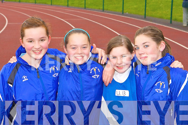 Estuary AC competitors at An Riocht AC open athletics meet in Castleisland on Tuesday evening l-r: Brid Stackpool, Katie Ahern, Erin Moriarty and Margaret Stackpool
