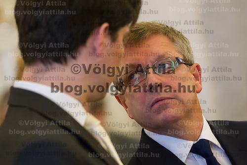 Hungary's newly minted central bank Governor Gyorgy Matolcsy talks to his deputy Adam Balog, also newly appointed for the central bank before the swearing-in ceremony at the Presidential palace in Budapest, Hungary on March 06, 2013. ATTILA VOLGYI