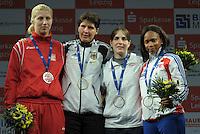 European Championships Fencing 2010 / Fecht Europameisterschaft 2010 in Leipzig - Competition Championat d'europe - im Bild: Siegerehrung Damen Degen - left to right - Magdalena Piekarska (POL, Silver Medal) , Imke Duplitzer ( GER, Gold Medal), Noam Mills (ISR) and Laura Flessel-Colovic (FRA, both Bronze Medal)  . Foto: Norman Rembarz..Norman Rembarz , Autorennummer 41043728 , Augustenstr. 2, 04317 Leipzig, Tel.: 01794887569, Hypovereinsbank: BLZ: 86020086, KN: 357889472, St.Nr.: 231/261/06432 - Jegliche kommerzielle Nutzung ist honorar- und mehrwertsteuerpflichtig! Persönlichkeitsrechte sind zu wahren. Es wird keine Haftung übernommen bei Verletzung von Rechten Dritter. Autoren-Nennung gem. §13 UrhGes. wird verlangt. Weitergabe an Dritte nur nach  vorheriger Absprache..