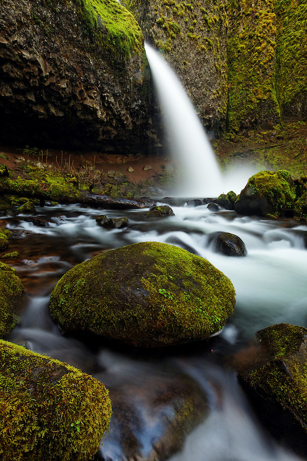 Horsetail Creek plummets over Ponytail Falls and moss covered boulders, Columbia River Gorge National Scenic Area, Oregon, USA