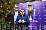 Derek and Evan O'Brien Ballymac pictured with the Premier League Cup in SuperValu Tralee on Wednesday afternoon.