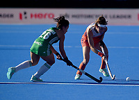 Ireland's Anna O'Flanagan battles with Nertherlands' Eva de Goede <br /> <br /> Photographer Hannah Fountain/CameraSport<br /> <br /> Vitality Hockey Women's World Cup - Netherlands v Ireland - Sunday 5th August 2018 - Lee Valley Hockey and Tennis Centre - Stratford<br /> <br /> World Copyright &copy; 2018 CameraSport. All rights reserved. 43 Linden Ave. Countesthorpe. Leicester. England. LE8 5PG - Tel: +44 (0) 116 277 4147 - admin@camerasport.com - www.camerasport.com