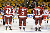 Brendan Rempel (Harvard - 42), Ryan Grimshaw (Harvard - 6), Eric Kroshus (Harvard - 10) - The Boston University Terriers defeated the Harvard University Crimson 3-1 in the opening round of the 2012 Beanpot on Monday, February 6, 2012, at TD Garden in Boston, Massachusetts.
