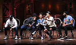 J. Quinton Johnson, Nik Walker, Bryan Terrell Clark, Sasha Hollinger and Jordan Fisher during the Q & A for The Rockefeller Foundation and The Gilder Lehrman Institute of American History sponsored High School student #EduHam matinee performance of 'Hamilton' at the Richard Rodgers Theatre on 2/15/2017 in New York City.