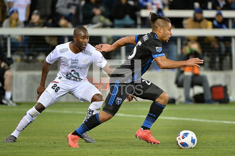 San Jose, CA - Saturday March 24, 2018: Andrés Mosquera, Quincy Amarikwa during an international friendly between the San Jose Earthquakes and Club Leon FC at Avaya Stadium.