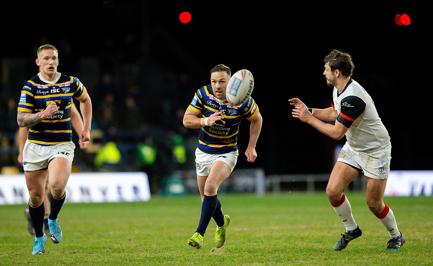Leeds Rhinos' Luke Gale chips a ball past Toronto Wolfpack's Jon Wilkin<br /> <br /> Photographer Alex Dodd/CameraSport<br /> <br /> Betfred Super League Round 6 - Leeds Rhinos v Toronto Wolfpack - Thursday 5th March 2020 - Headingley - Leeds<br /> <br /> World Copyright © 2020 CameraSport. All rights reserved. 43 Linden Ave. Countesthorpe. Leicester. England. LE8 5PG - Tel: +44 (0) 116 277 4147 - admin@camerasport.com - www.camerasport.com