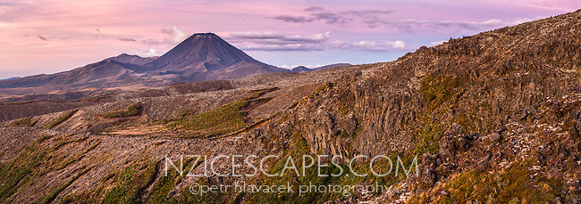 Sunset over Mount Ngaruhoe, Tongariro National Park, Central Plateau, North Island, UNESCO World Heritage Area, New Zealand, NZ